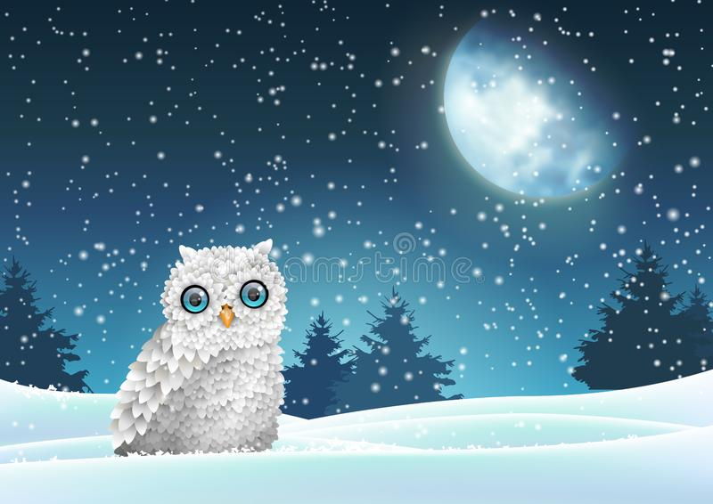 Winter background, owl sitting in snow under moon. Winter Christmas theme wit white fluffy owl sitting in snow under big shinny moon on dark sky, vector stock illustration
