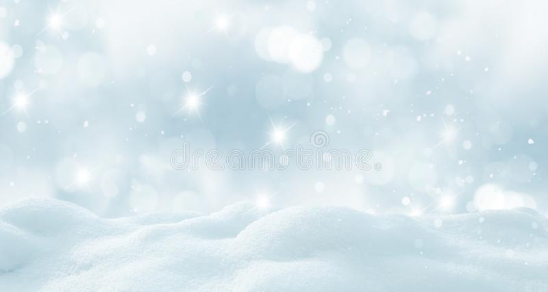 Winter background with snow and blurred bokeh. Merry Christmas and happy New Year greeting card with copy-space stock photography