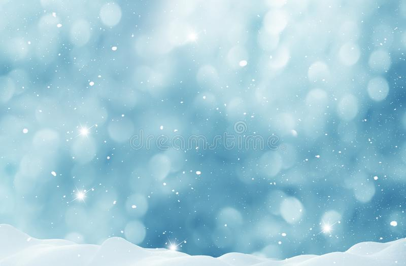 Winter background with snow and blurred bokeh. Merry Christmas and happy New Year greeting card with copy-space royalty free stock photos