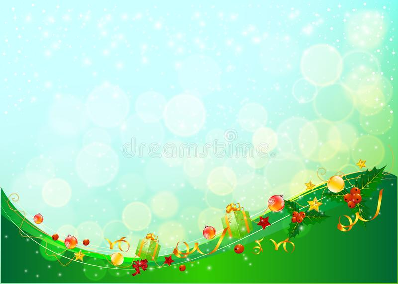 Winter background with snow. Gift boxes. Christmas blue defocused illustration. vector illustration