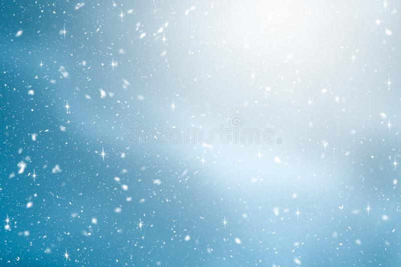 Winter background with snow and glitter in blue gradient color. Merry Christmas and Happy new year backdrop royalty free illustration