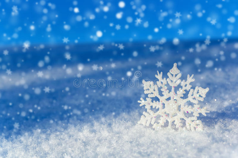 Beautiful Snowflake In The Sunlight: Winter Background. Royalty Free Stock Photos