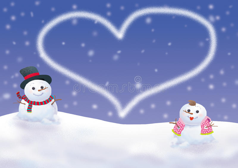 Download Winter Background With Snowman Stock Illustration - Image: 15235112