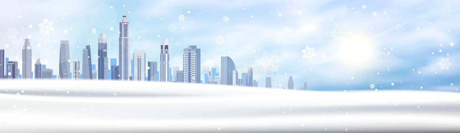 Winter Background Snowy City Landscape Horizontal Banner Snow White Buildings Blue Sky Christmas Concept. Flat Vector Illustration stock illustration