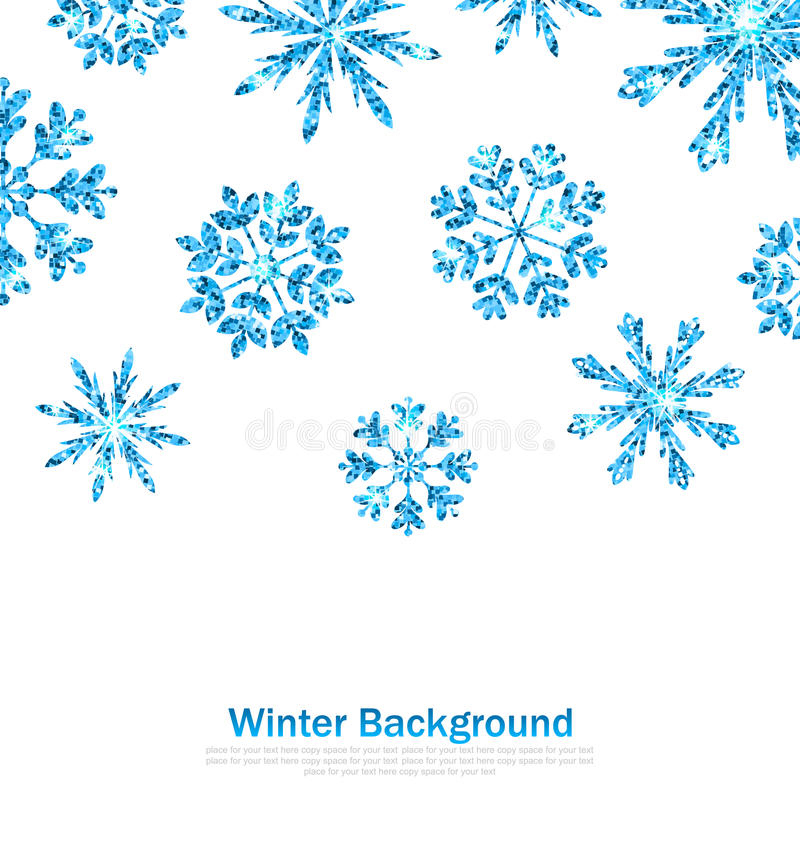 Winter Background with Sparkle Snowflakes stock illustration