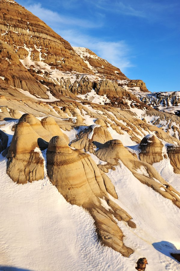 Winter badlands field royalty free stock image