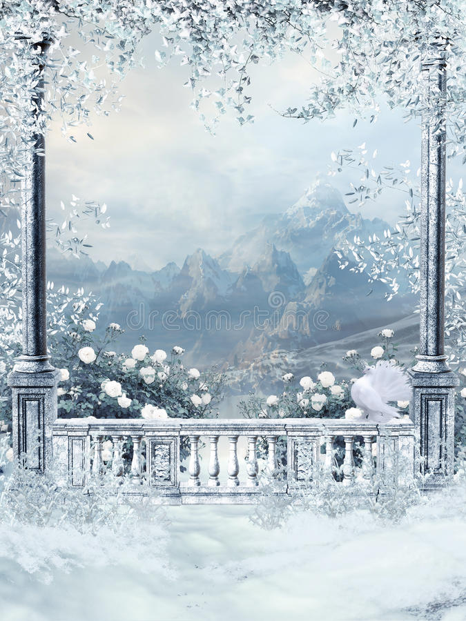 Winter balcony with vines. And white roses royalty free illustration