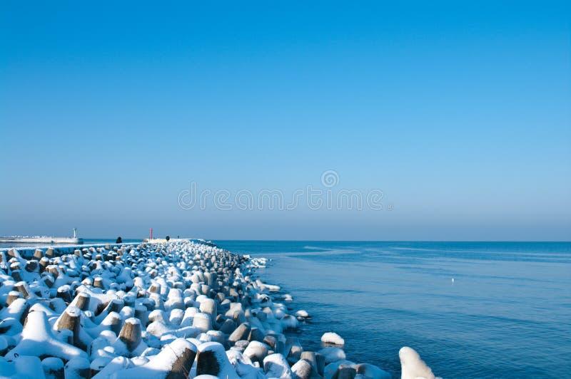 Winter Baltic jetty stock image