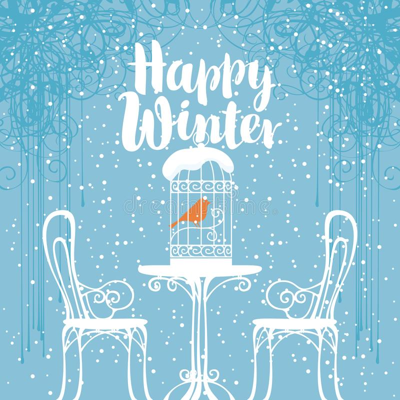 Winter banner with bird in the cage on the table vector illustration