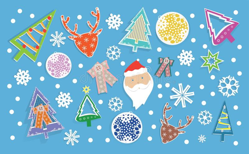 Winter banner with Christmas toys in sticker style, snowflakes, Santa Claus and deer royalty free stock photography