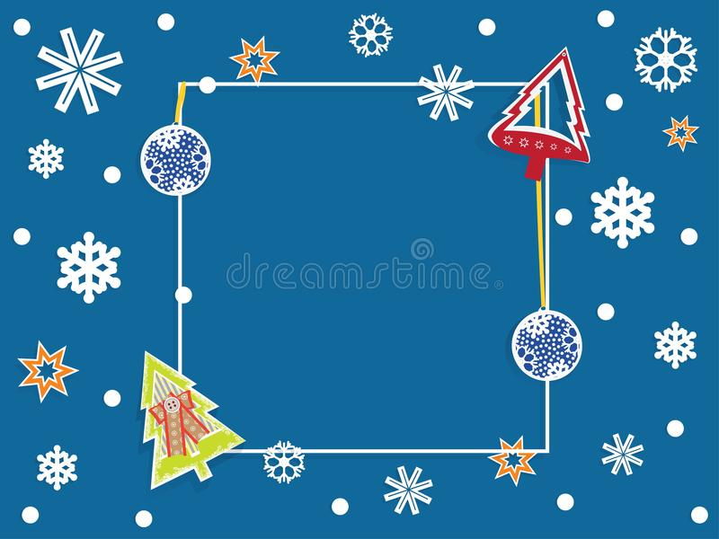 Winter banner with dark blue background, snowflakes, Christmas royalty free stock images