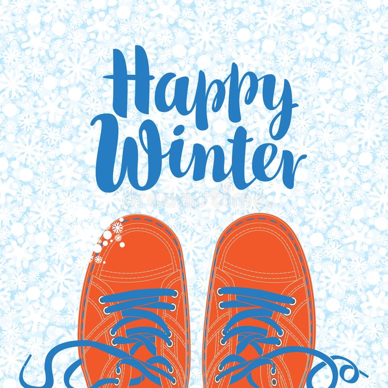 Winter banner with shoes on the snowy background vector illustration