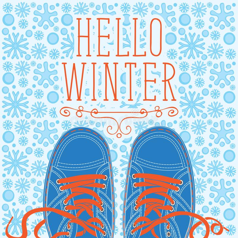 Winter banner with shoes on the snowy background royalty free illustration