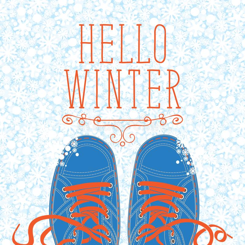 Winter banner with shoes on the snowy background stock illustration
