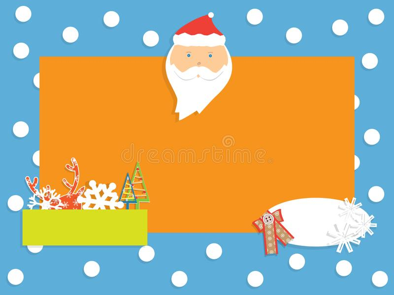 Winter banner with snowflakes, Santa Claus, deer and fir-tree royalty free stock photography