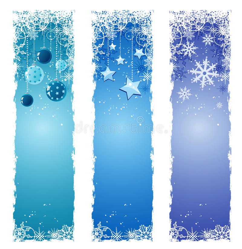 Winter banners. Set of blue winter banners vector illustration