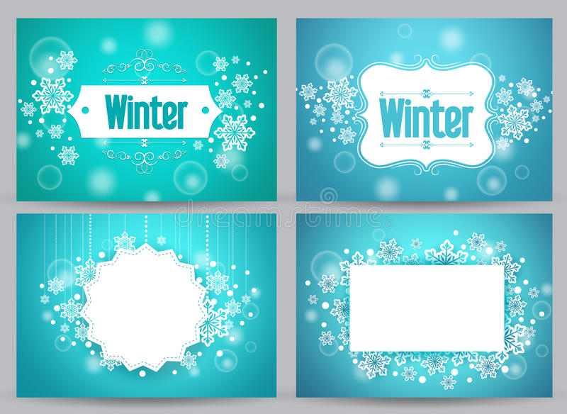 Winter banners and backgrounds vector bundle with designs vector illustration
