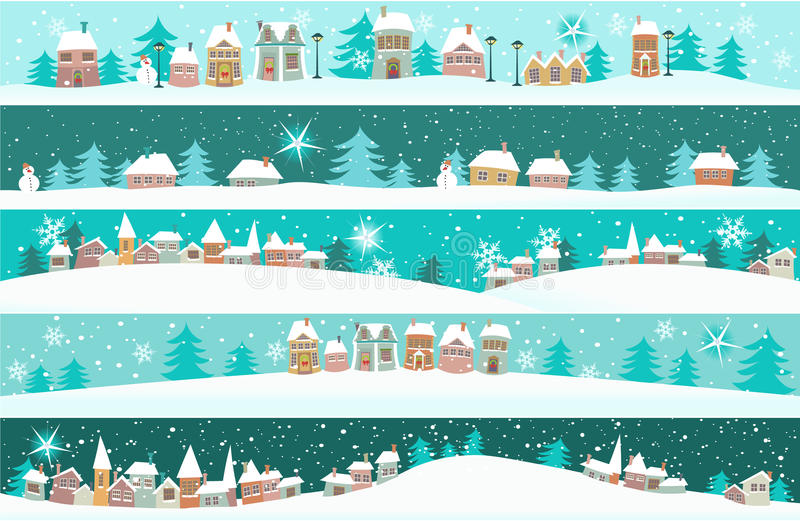 Winter banners with cartoon houses royalty free illustration