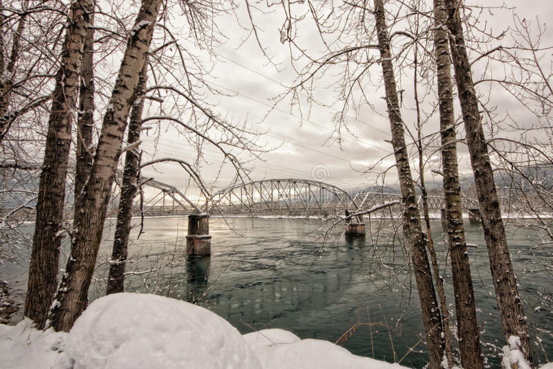 Winter-Baum gestaltete Bockbrücke stockfoto