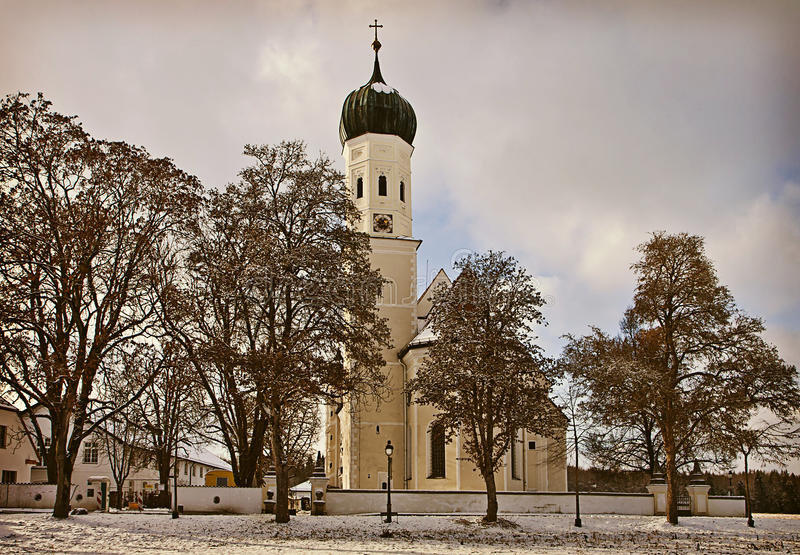 Download Winter Bavarian Landscape, Baroque Church At Sunset Stock Photo - Image: 83707620