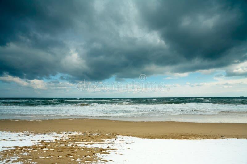 Winter beach stock photography