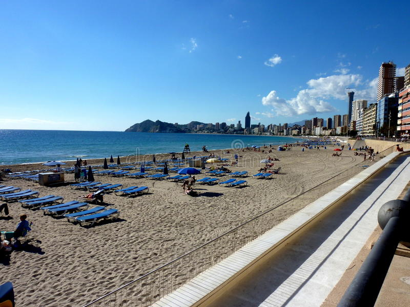Winter beach in Spain, coast of Costa Blanca stock image
