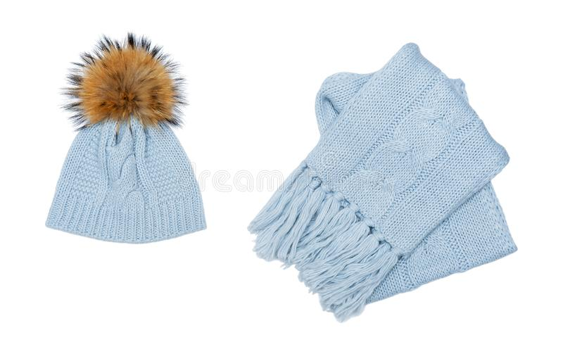 Winter beanie and scarf set isolated on white stock photo