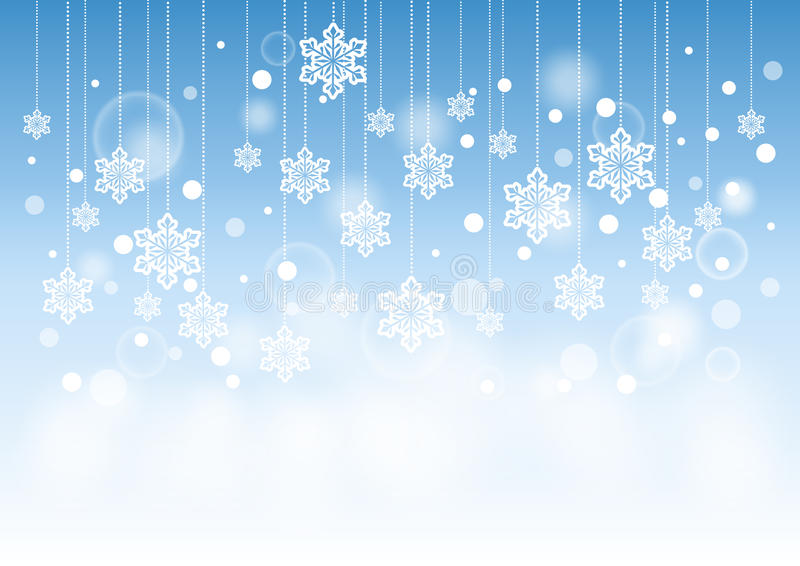 Winter Beautiful Background with Snow Flakes Hanging Pattern royalty free illustration