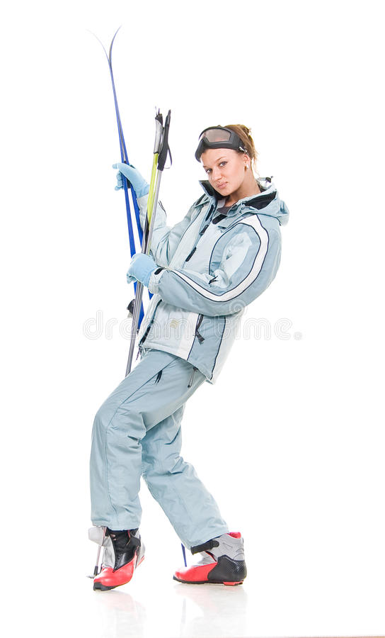 Download Winter Beautiful Girl In Sports Suit And With Skis Stock Photo - Image: 12606696