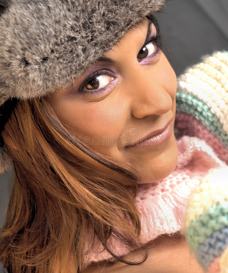Download Winter beauty stock image. Image of make, hair, face, jumper - 610109