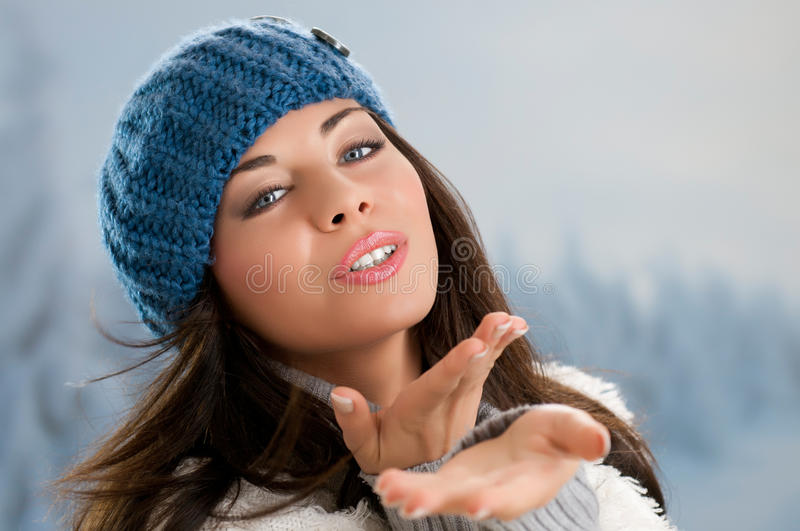 Download Winter beauty kissing stock image. Image of expression - 26539475