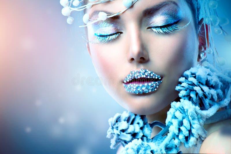Winter Beauty Woman. Christmas Girl Makeup royalty free stock photo