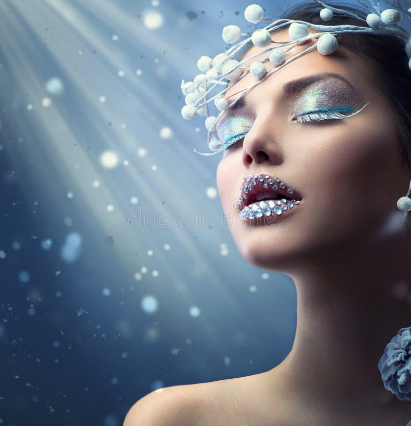 Winter Beauty Woman. Christmas Girl Makeup royalty free stock photos