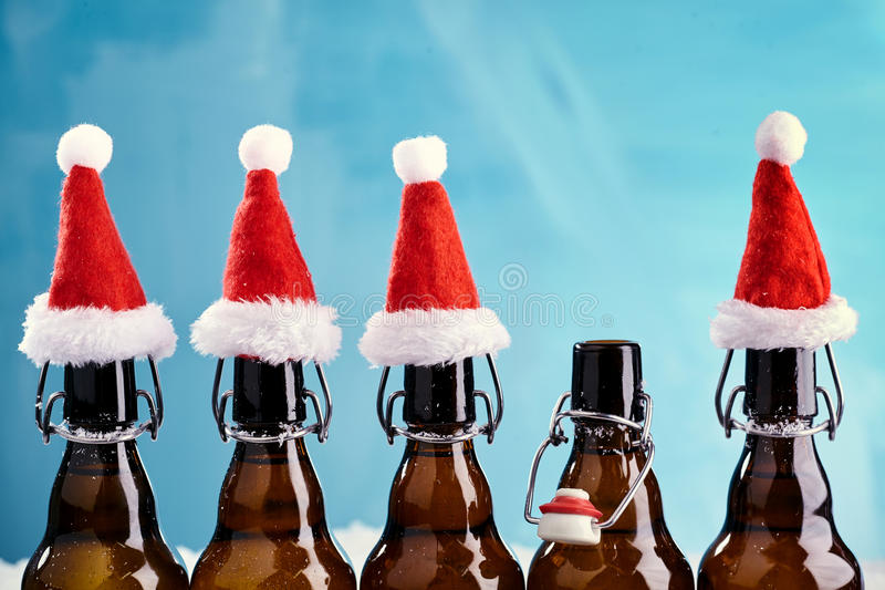 Winter beer bottle merry christmas party stock images
