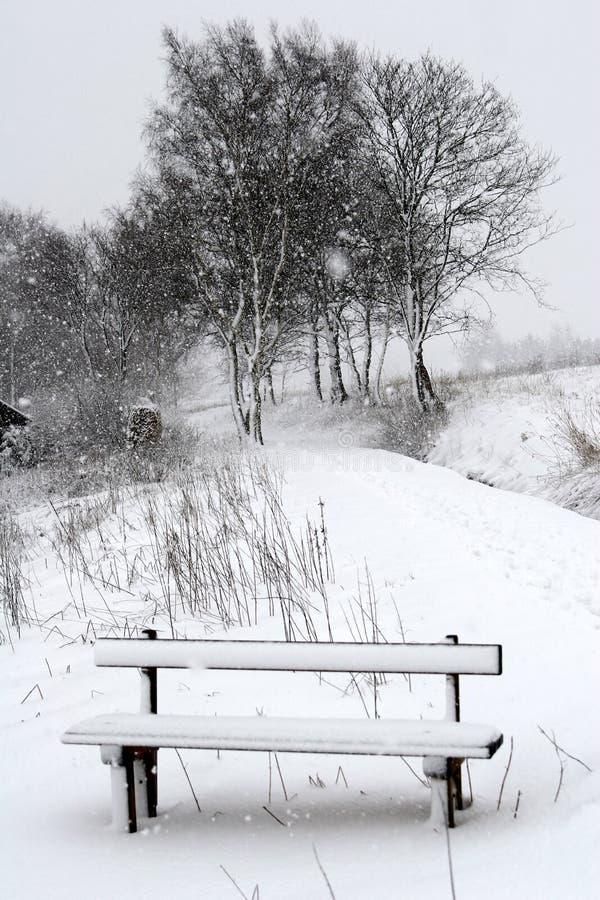 Winter bench royalty free stock photos