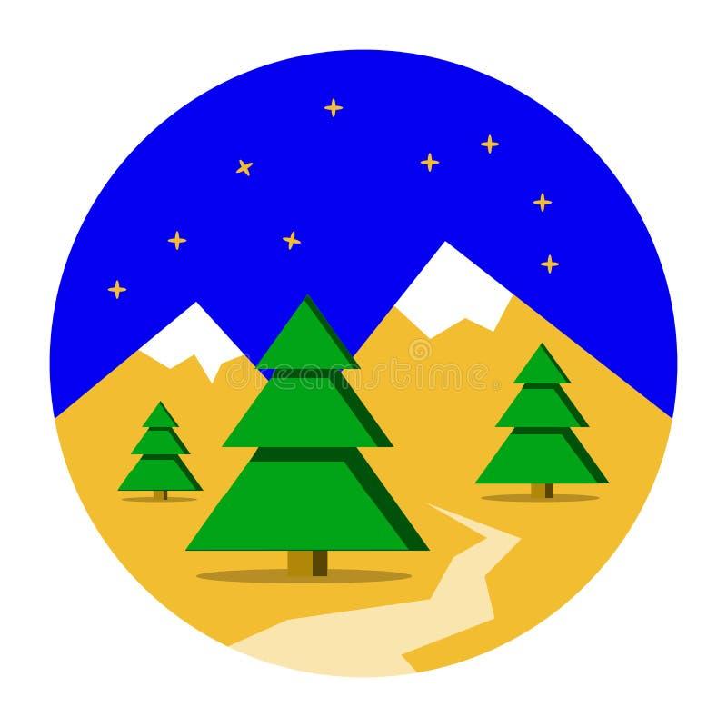Winter-Berge gestalten mit Kiefernwaldweihnachtshintergrund landschaftlich Flacher Entwurf, Vektorillustration stock abbildung