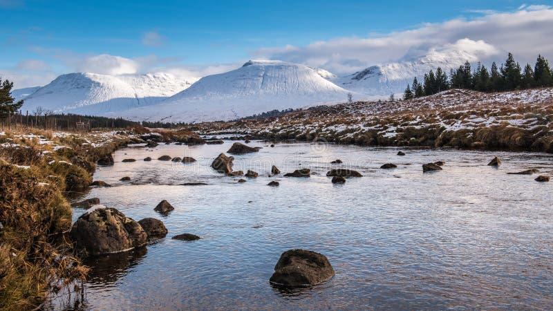 Winter-Berge von Schottland stockbild