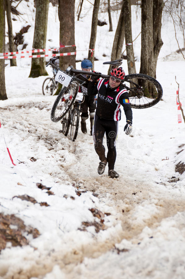Winter bicycle race royalty free stock photography