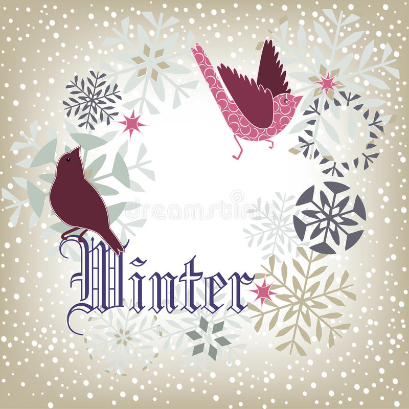 Winter birds royalty free illustration