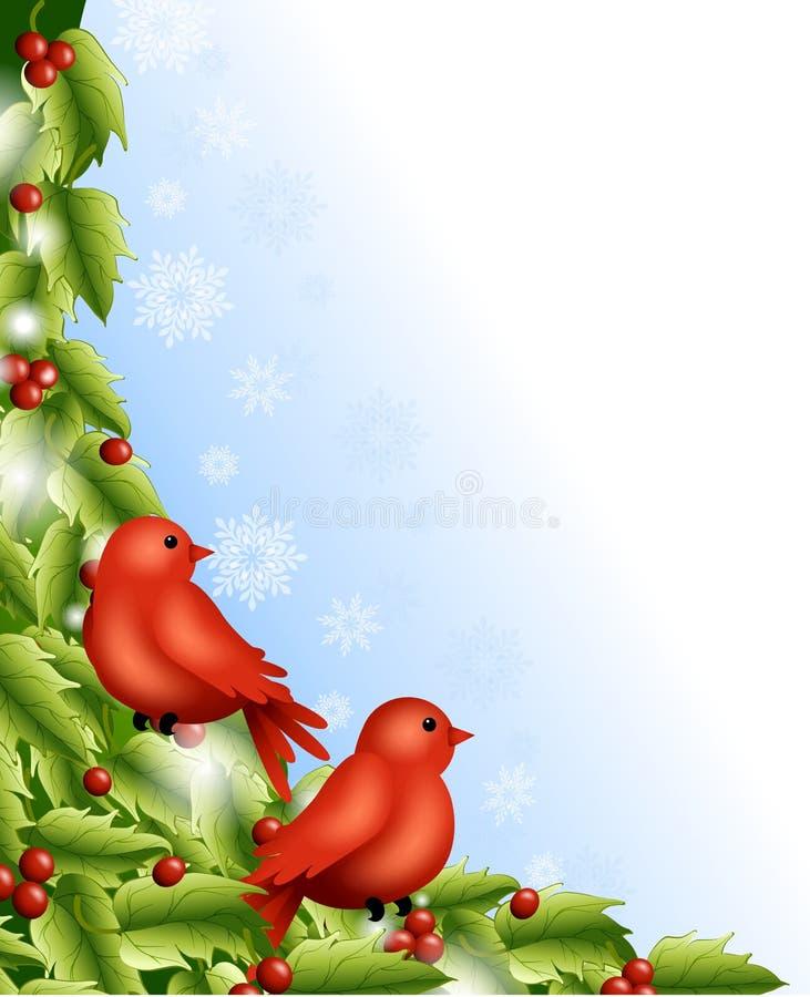 Winter Birds Holly Border vector illustration