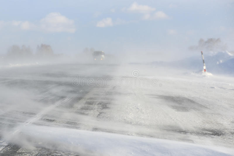 Winter blizzard blocked a highway royalty free stock images