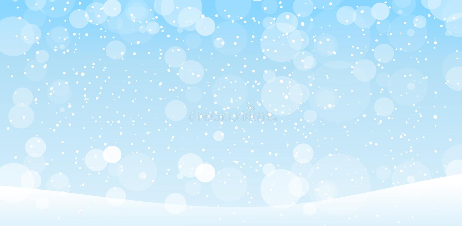 Winter blue banner with falling snow. Hello winter. Background for New Year s cards. Merry Christmas. Frosty background with. Snowfall. Shining balls, bokeh royalty free illustration
