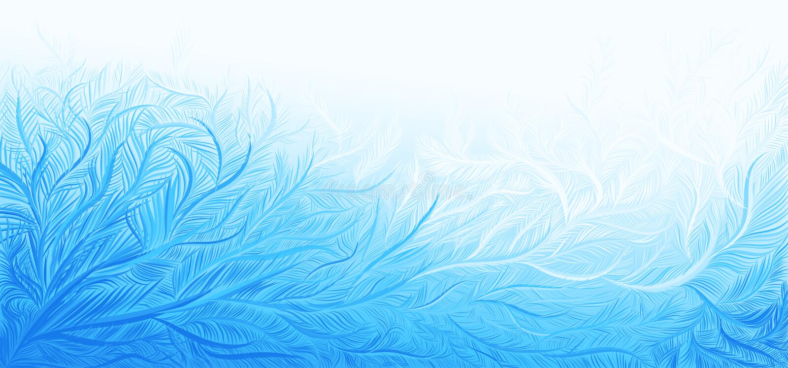 Winter blue curly ice frost christmas background. Vector illustration. RGB. Global colors. One editable gradient used for easy recolor stock illustration