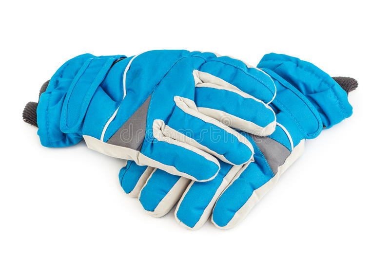 Winter blue ski gloves isolated. On white background stock image