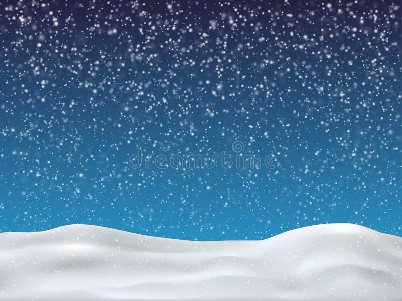 Winter blue sky with falling snow. Winter background for merry Christmas and happy new year. vector illustration