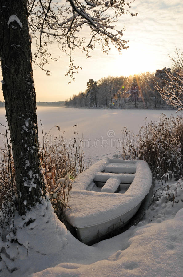 Winter boat stock image