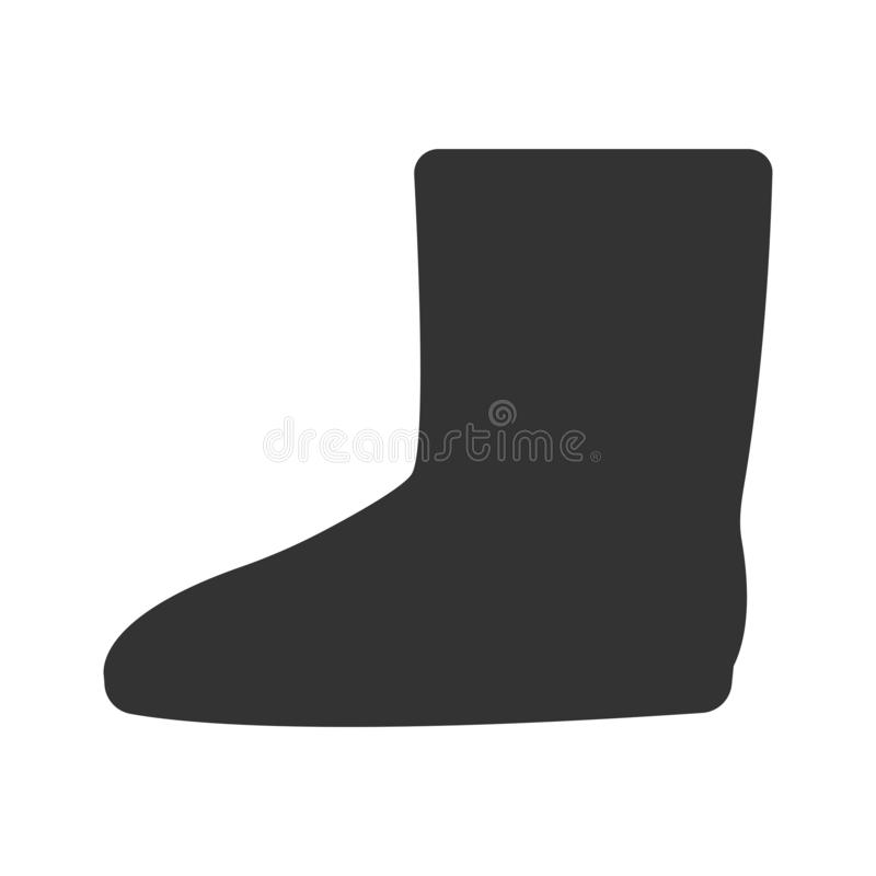 Winter boots flat square icon. Felt boots icon in simple style on a white background vector illustration stock illustration