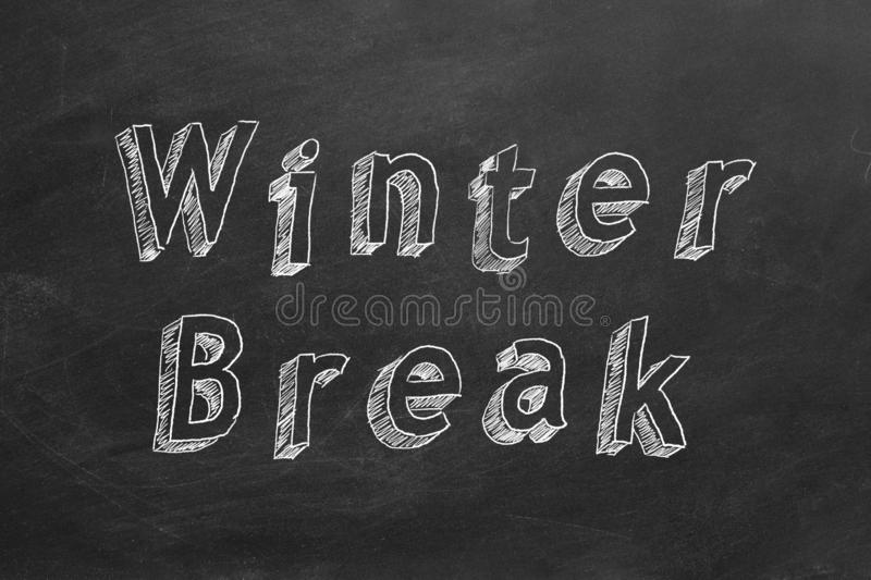 Winter Break. Hand drawing text Winter Break on blackboard vector illustration