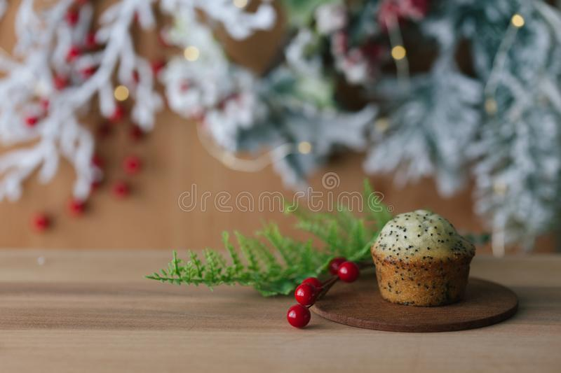 Winter breakfast with poppy seed mini muffin and coffee royalty free stock images