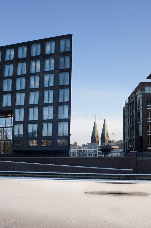 Winter in Bremen. Weser Sack frozen in Bremen royalty free stock photos